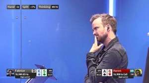 Aaron Paul ponders his move during his first GPL match. Image credit: @aaronpaul_8 on Twitter