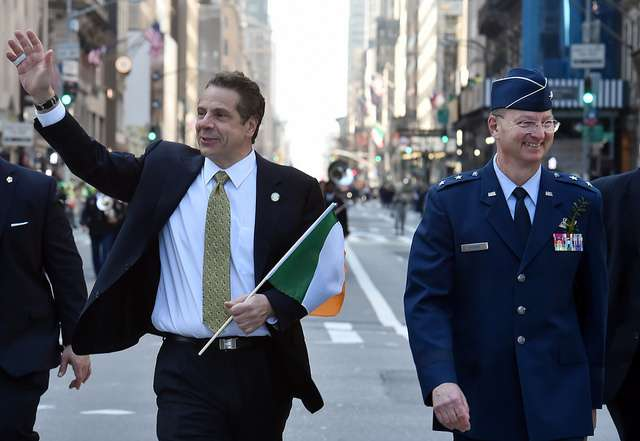 New York Gov. Andrew Cuomo Marching in 2016 St. Patrick's Day Parade Image credit: Gov. Andrew Cuomo via Flickr