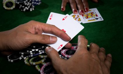 Man winner in a poker game