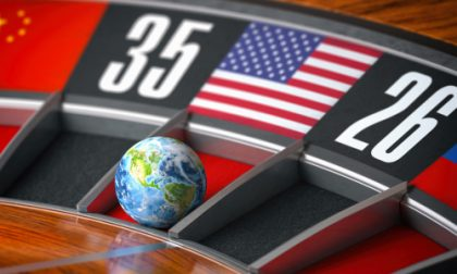 Earth as a ball of casino roulette with american USA flag