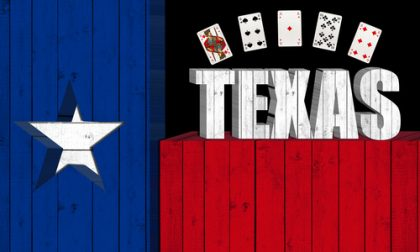 Texas flag with poker cards