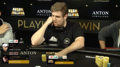 James Hopkins at the 2018 Aussie Millions Main Event final table (Source: James Hopkins Twitter account, @pocket_punter)